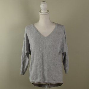 Express Silver Metallic Sweater with Zip Back